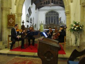 The Manor House String Quartet playing a Viennese New Years concert at Cranfield Bedfordshire