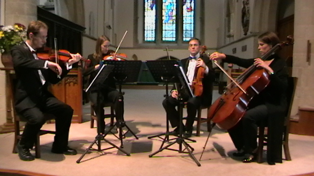 Manor House Music String Quartet playing a local classical concert