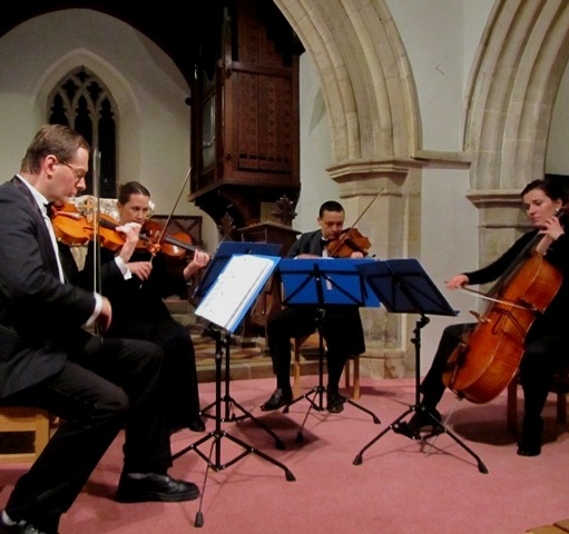 Manor House String Quartet performing at St Nicholas Church in Cuddington