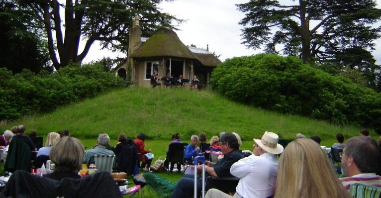 Manor House String quartet performing an outdoor concert at The Swiss Gardens, Biggleswade