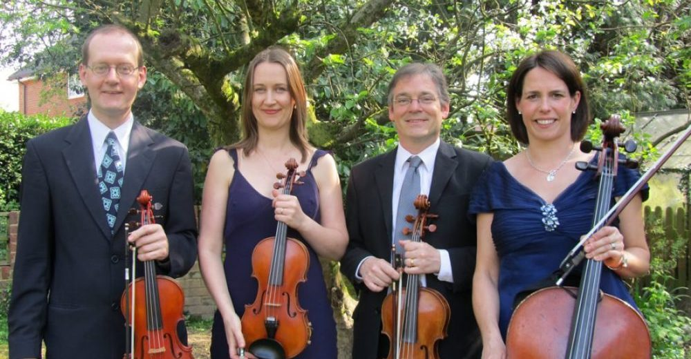 The Manor House String Quartet on a sunny day in Buckinghamshire